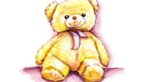 #WorldWatercolorGroup - Day 22 - Forgotten Little Friends Baby Teddy Bear - Doodlewash