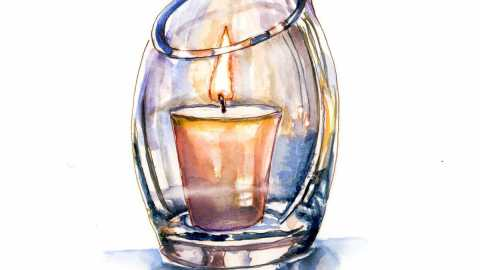 #WorldWatercolorGroup - Day 29 - Relaxing With Candles - Doodlewash