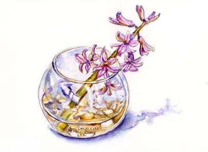 #WorldWatercolorGroup - Day 4 - Vase of Pink Purple Flowers - Doodlewash