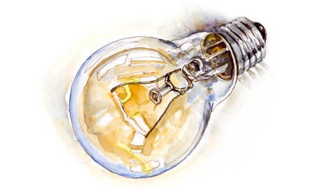 #WorldWatercolorGroup - Day 9 - Bright Ideas Light Bulb - Doodlewash