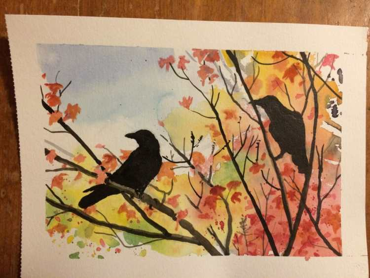 I was asked to repeat the Rook and Crow picture with a fall/autumn bg – so I tried with this o