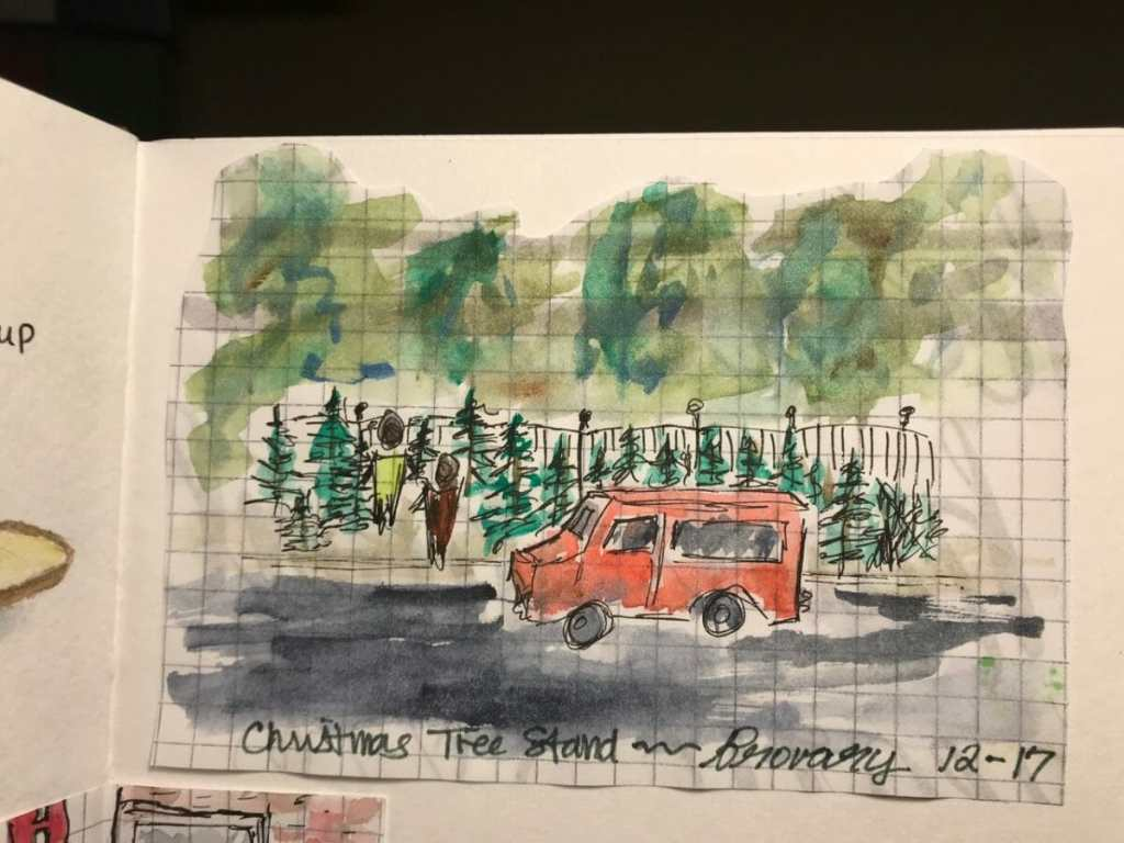 Another urban sketch. Christmas Tree Stand. Brovary, Ukraine, December 31, 2017 IMG_4299