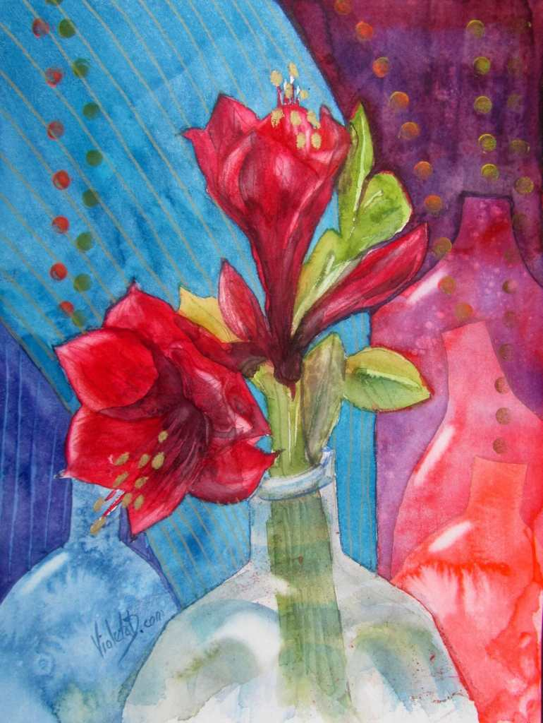 Bottles and Red Amaryllis, watercolor on Hahnemühle 425 gsm, 30×40 cm (painted in January 2018