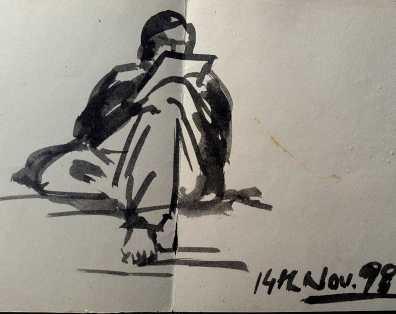 -Ink sketch by Mahboob Raja 'Elham' - Doodlewash.com