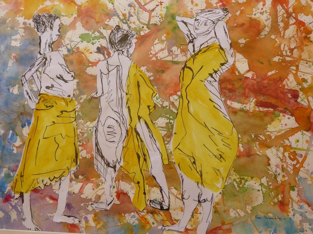 three bathers – sticking and watercolor on paper baigneuses