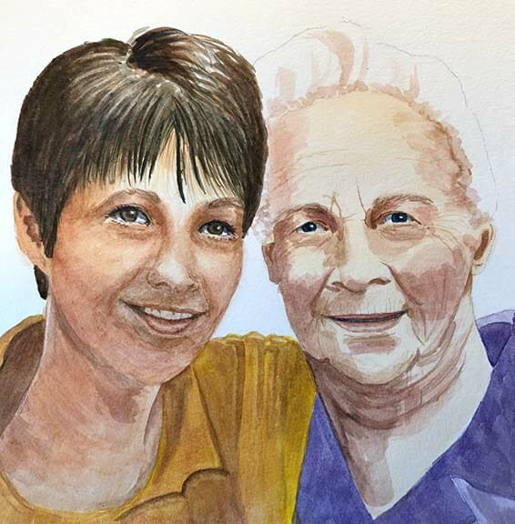 Portrait of my mother and me…it is from a 30 year old photo. My family thinks it looks like my