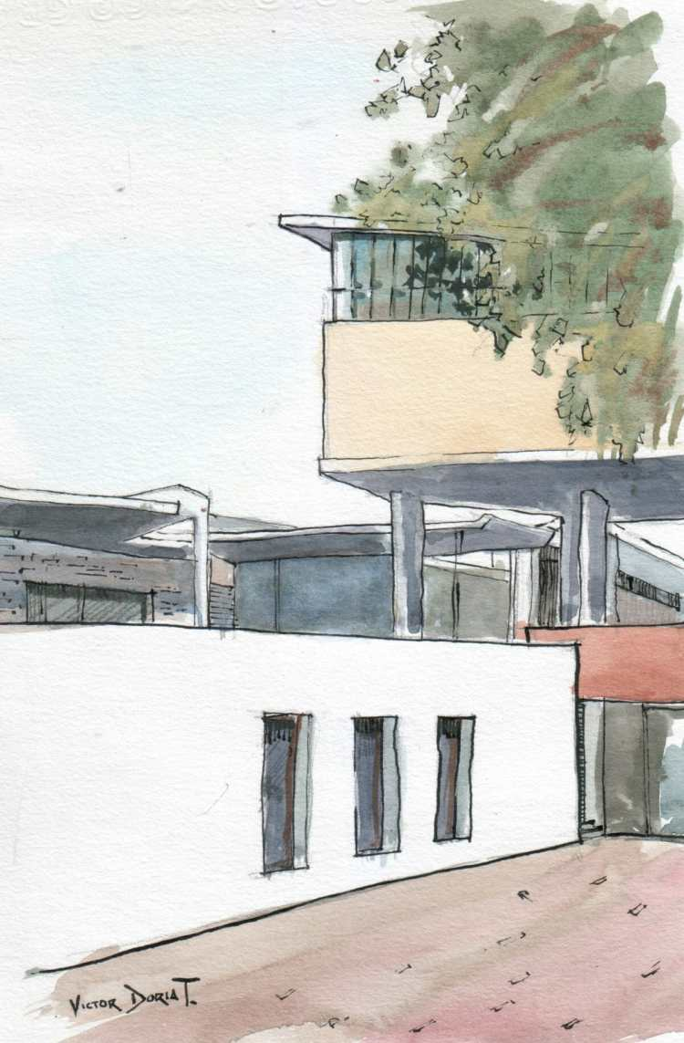 a sketch of tha Faculty of Architecture, Urbanism and Arts, in the National University of Engineerin