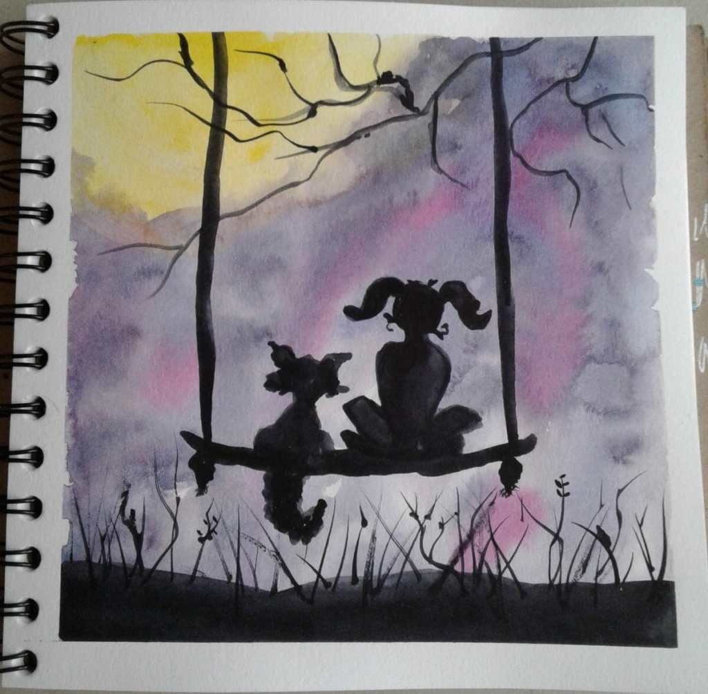 Day 214…friends A silhouette sounded like fun. Do a pretty background and then just paint the
