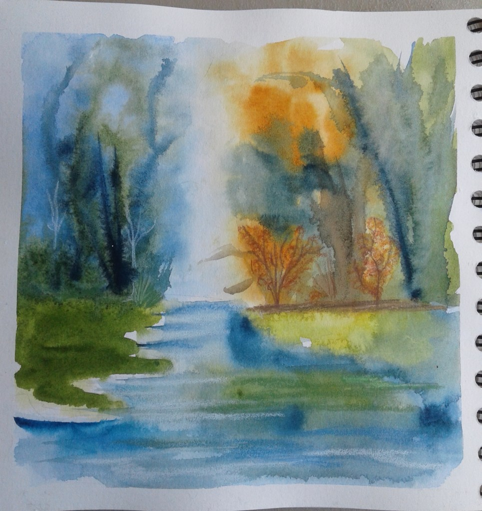 Day 232…river Painting rivers is some of a hit and miss thing for me. So I was pretty happy wi