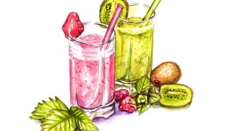 #WorldWatercolorGroup - Day 5 - Smoothie Break - Doodlewash