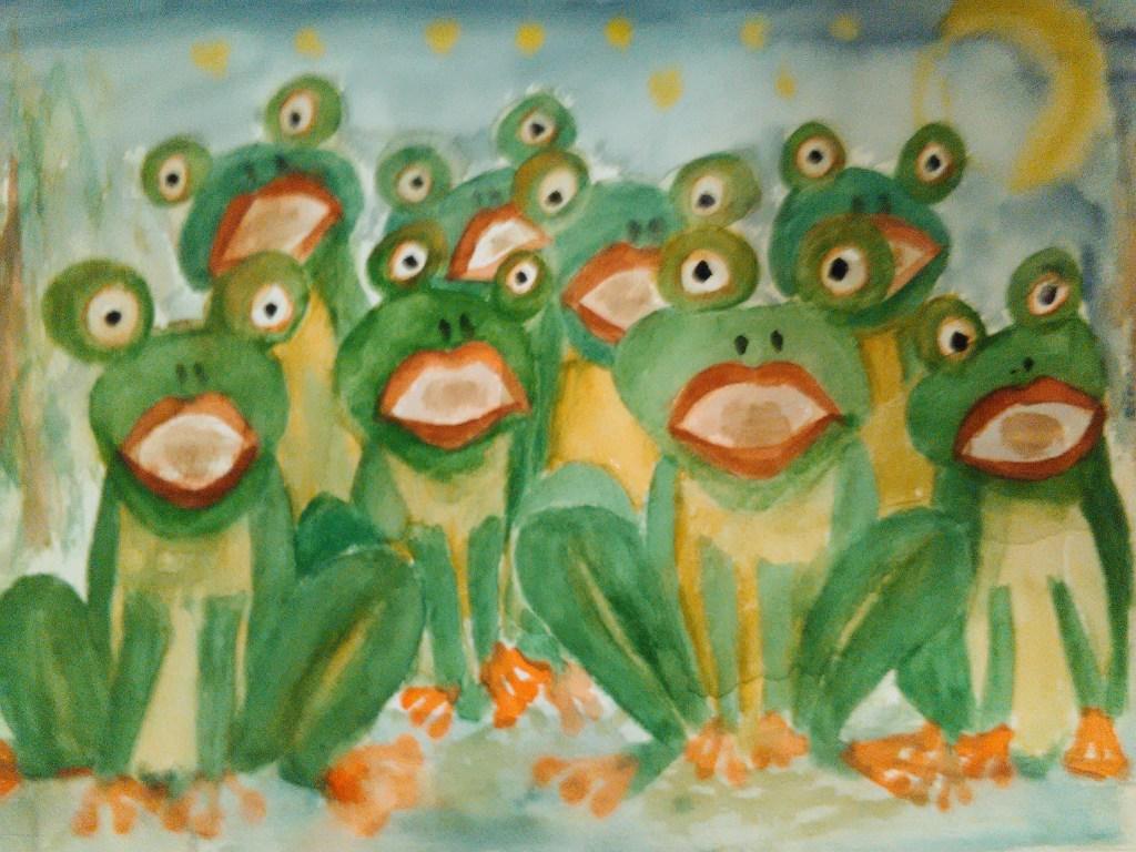 "Challenge 19. februar – frog When I read the word ""frog"", so I hear a frog concert"