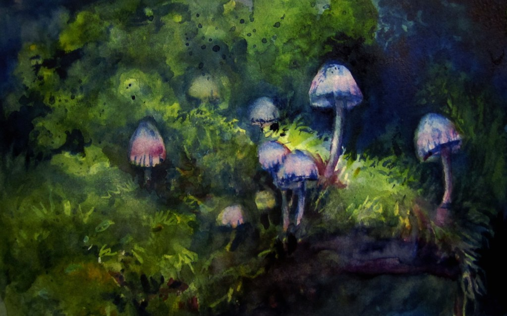 Mushrooms by Moonlight-Schmincke on Hahnemühle Cézanne Watercolor Hot Pressed 140. I had the harde