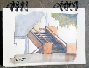 a sketch from a detail in the Faculty of Architecture (FAUA), UNI, Lima Peru 00faua ap