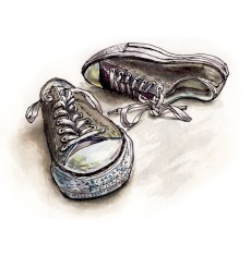Ordinary Days - Watercolor Sketch of Sneakers