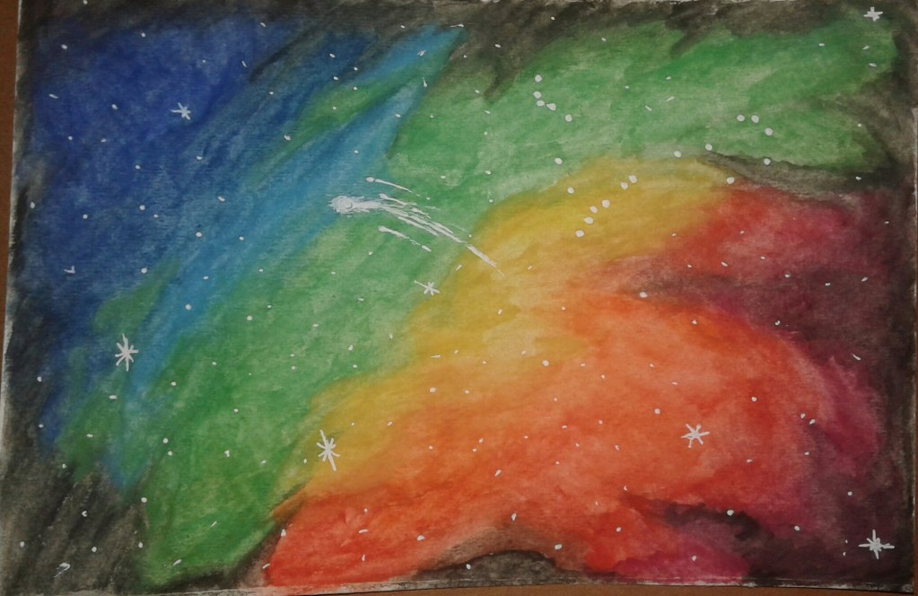 My 1st watercolor space project I created for a contest. 20180307_171529