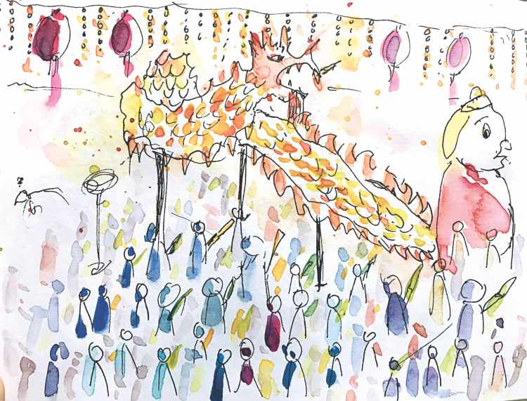 We watched a Chinese New Year parade last weekend. There were various performances done by children,