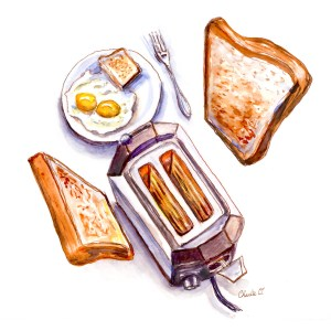 A Brand New Morning Toast Breakfast Room Watercolor Print