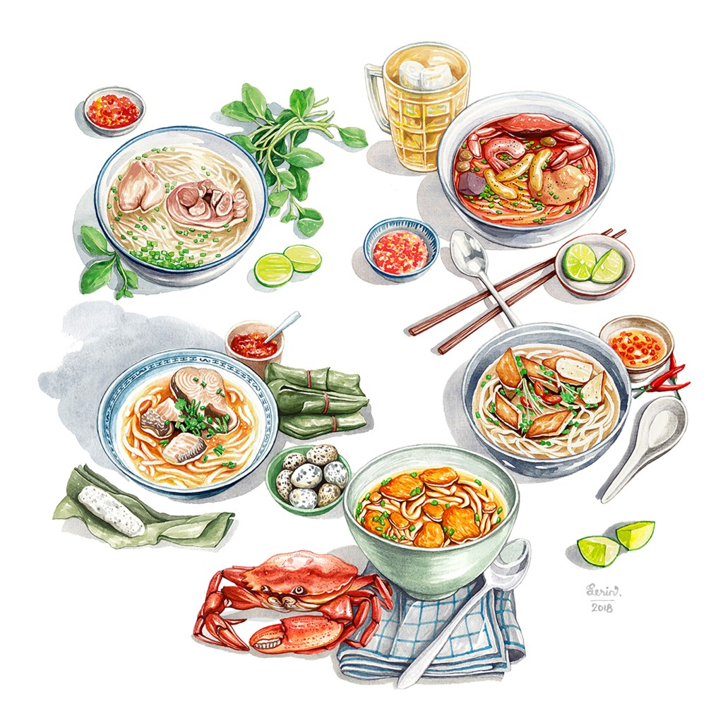 illustrated by me for Vietnamese foods #vietnamesefood #foodillustration #illustration Các loại b