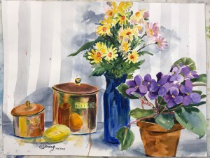 Shiny copper still life and flowers in watercolor. The violets are from my own inside garden window.
