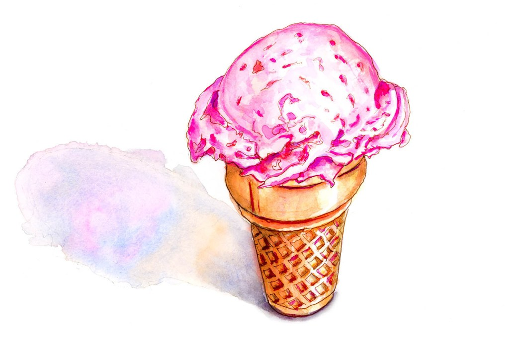 #WorldWatercolorGroup - Day 1 - Simple - Ice Cream Cone Memories - Doodlewash