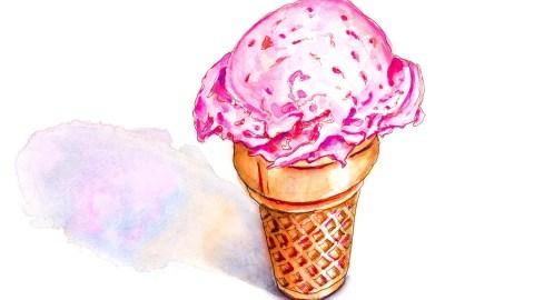 #WorldWatercolorGroup - Day 1 - Simple - Ice Cream Cone Memories - Doodlewash