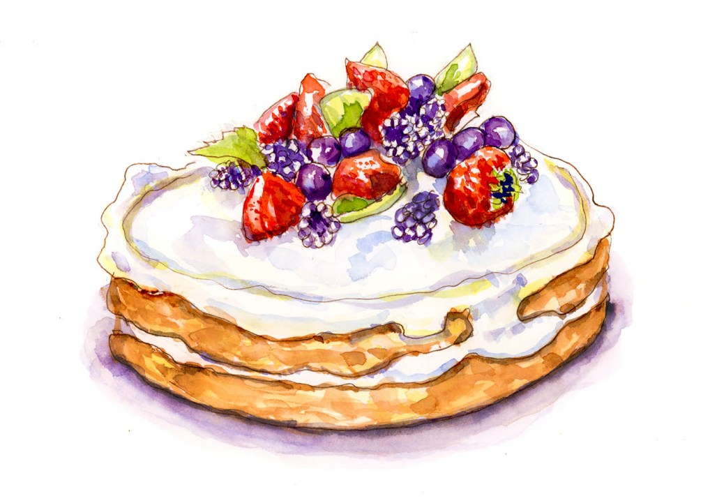 #WorldWatercolorGroup - Day 22 - Innocent Cravings Dessert Cake Watercolor - Doodlewash