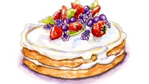 #WorldWatercolorGroup - Day 22 - Innocent Cravings Dessert Cake Watercolor - Doodlewash
