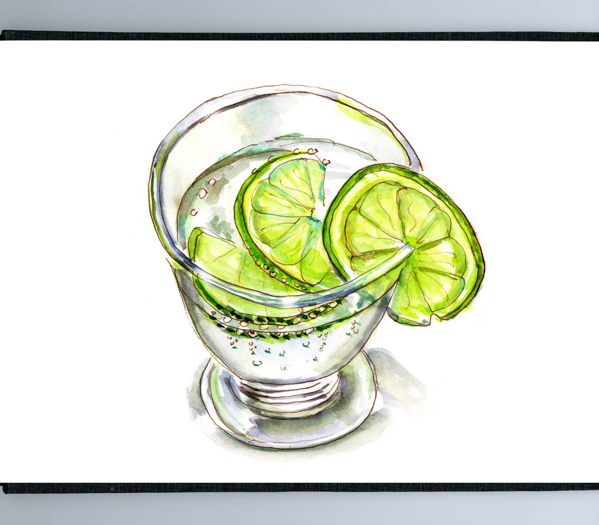 #WorldWatercolorGroup - Day 26 - Sparkling Water With Lime - Doodlewash