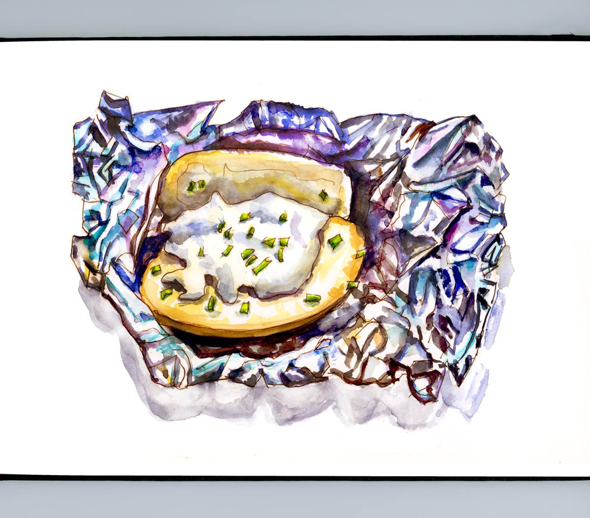 #WorldWatercolorGroup - Day 7 - The Texture Of Watercolor - Foil Baked Potato - Doodlewash