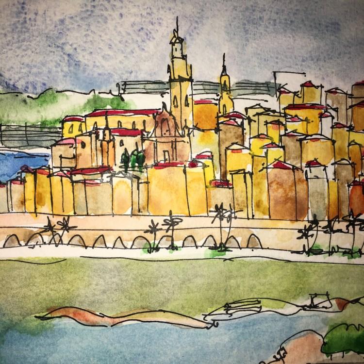A watercolor doodle of Menton France https://dkatiepowellart.me/2018/03/15/vsw-menton-france/ W18 3