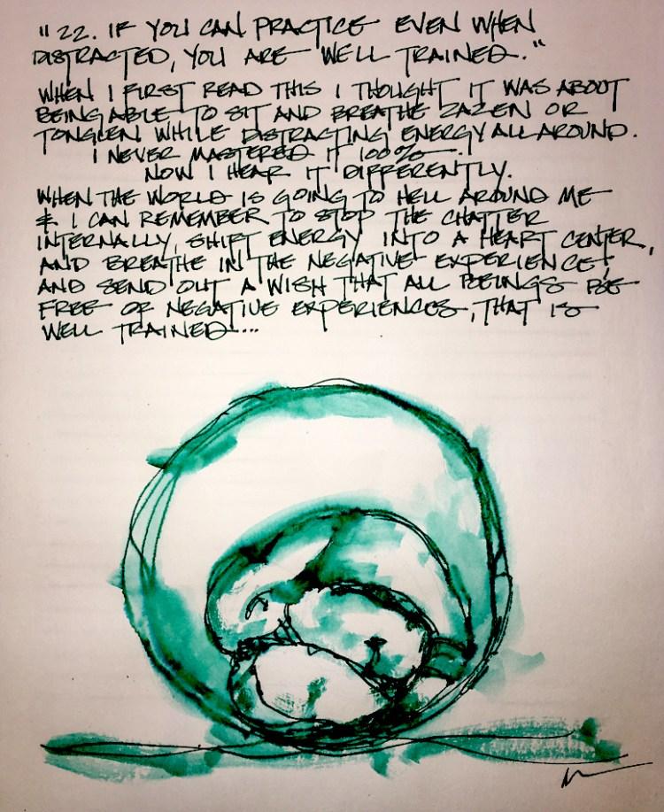 Ink and watercolor; weeping buddha. https://dkatiepowellart.me/2018/03/08/lojong-31-benefits-of-prac