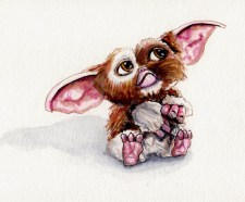 Watercolor Sketch of Gizmo from Gremlins