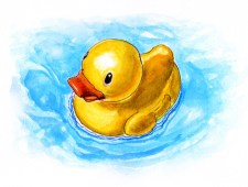 Rubber Duckie Watercolor - Doodlewash