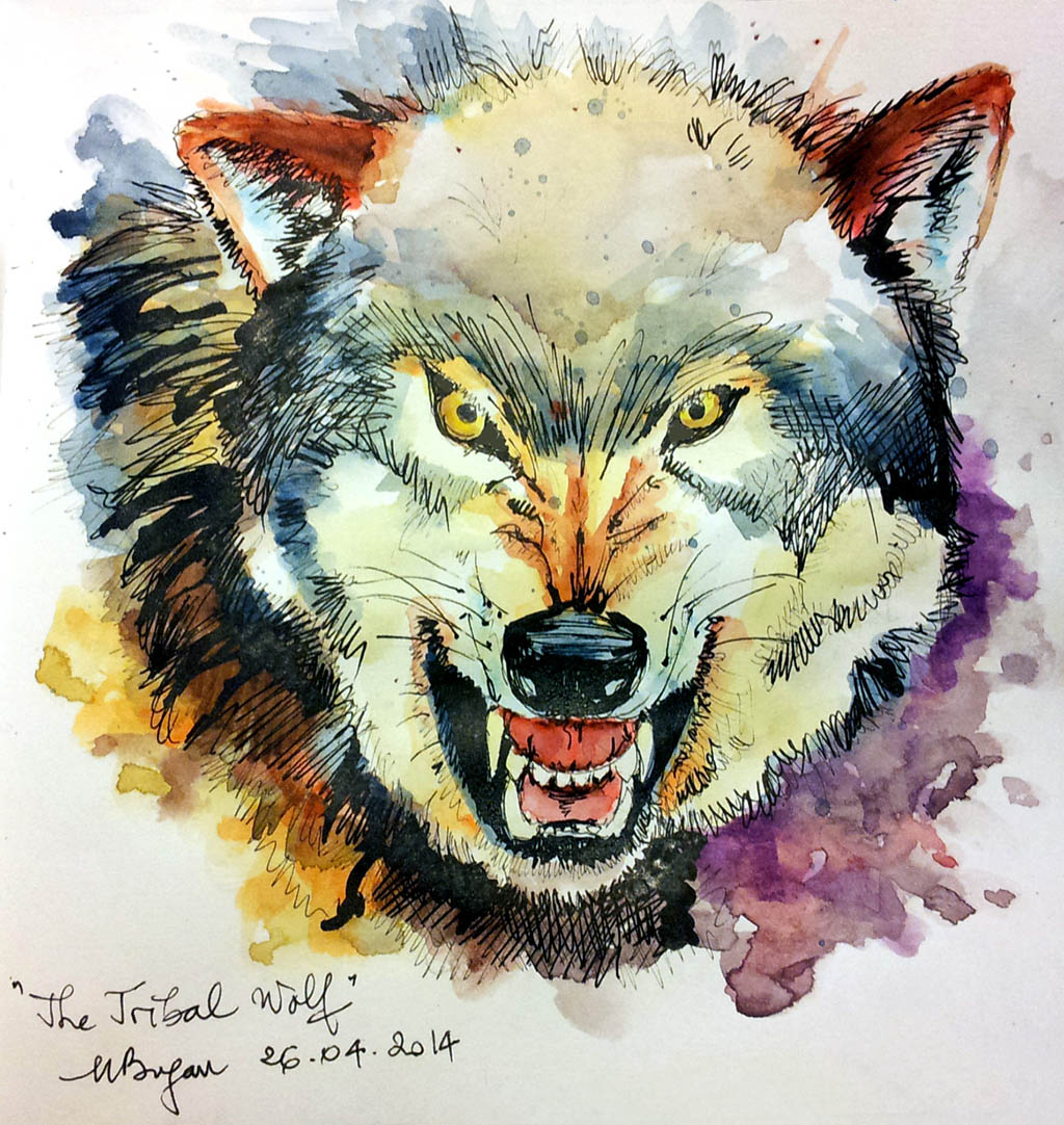 Watercolor Painting by Mishu Bogan - Wolf - Doodlewash #WorldWatercolorGroup