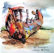 Watercolor Painting by Mishu Bogan - Old Boat - Doodlewash #WorldWatercolorGroup