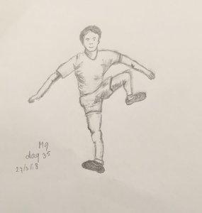 Day 35 sporting man , maybe hurdles? 20180327 Atleet dag 35