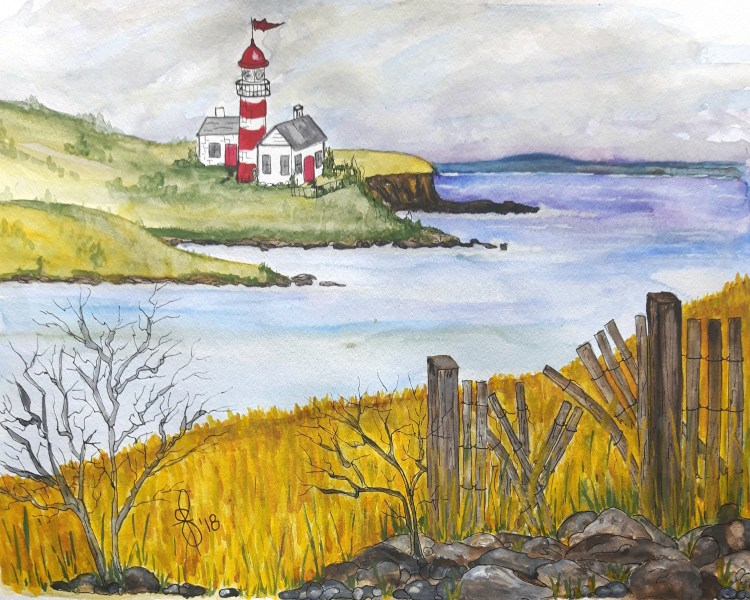"""The Headland's"" Artist Susan Feniak. QoR watercolor on Canson paper. 12″x15"