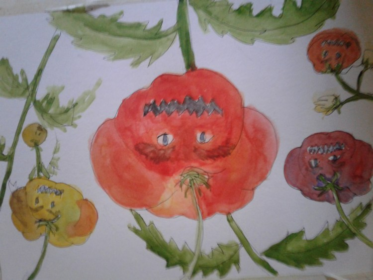 Here's my cartoon: Attack of the killer Heirloom Tomatoes! They looked better before I added e