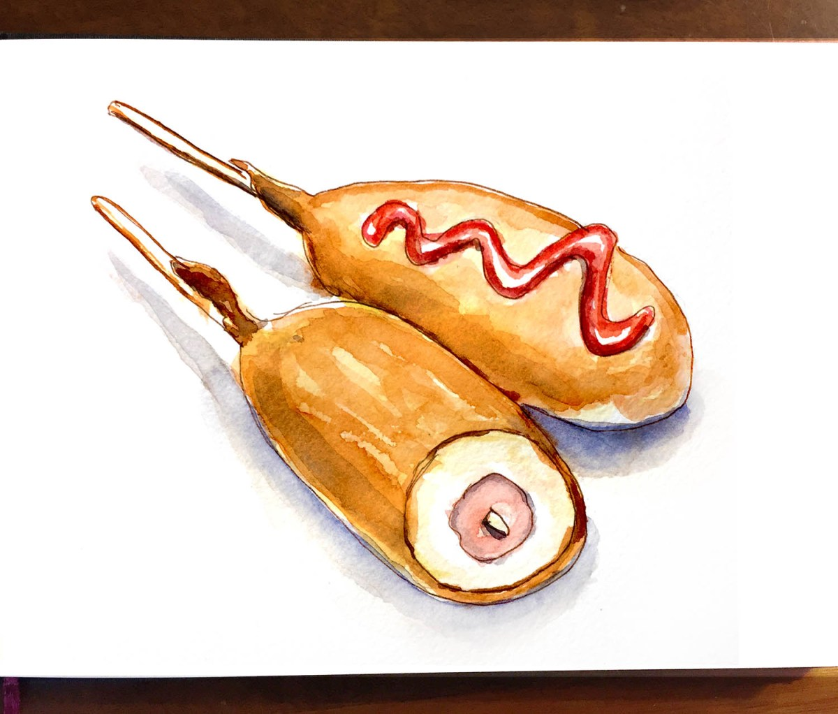 Day 18 - Carnival Food On A Stick Corn Dogs - Doodlewash