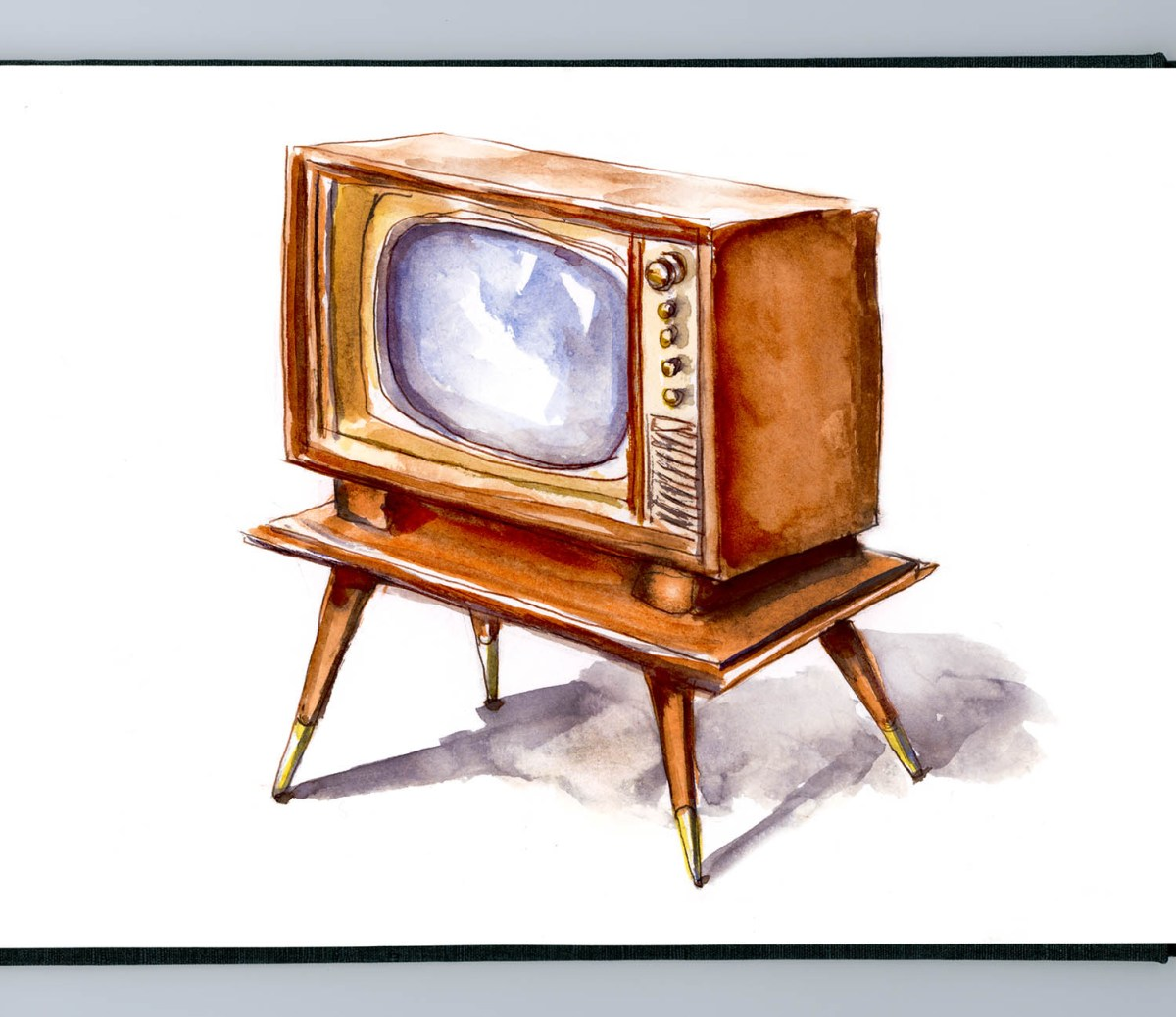 Day 26 - Console Television Back When Televisions Were Furniture - #doodlewash Doodlewash