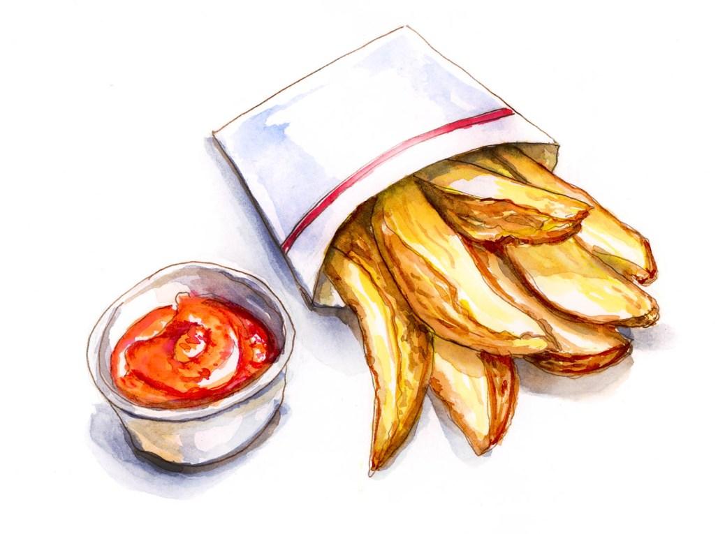 Ketchup And Fries Watercolor Sketch - Doodlewash - #doodlewashApril2018