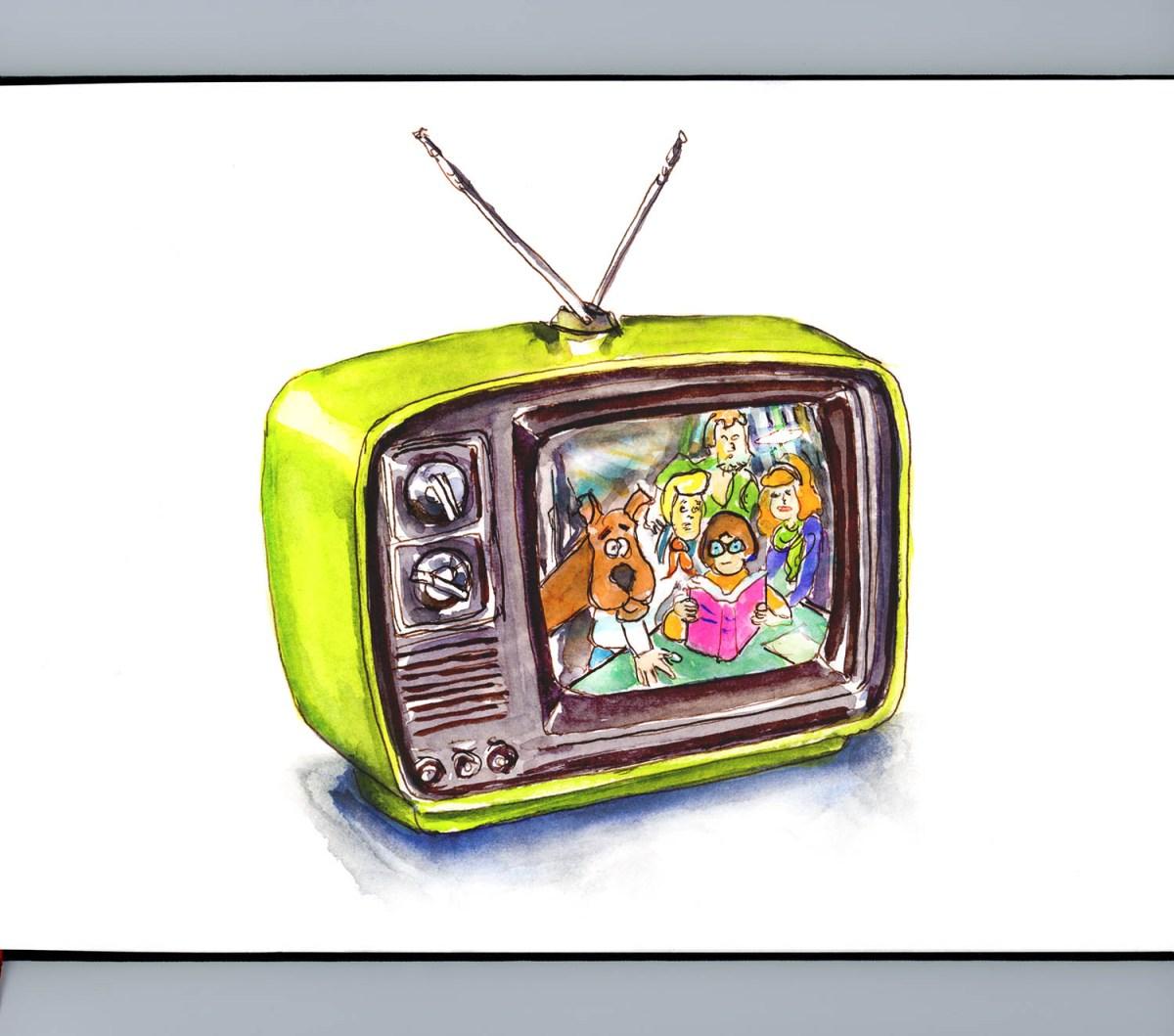 Day 9 - Retro Television Scooby Doo Watercolor_IG_