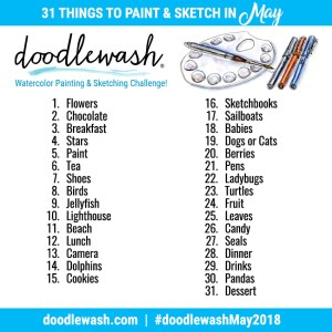 May 2018 Doodlewash Art Challenge - Watercolor Painting, Sketching, Drawing Prompts