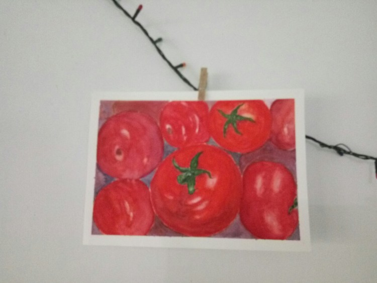 Tomatoes,, Still struggling with the shading and highlight 😕😥 #lastyearpainting#late