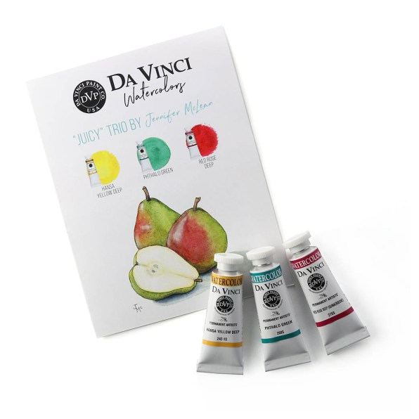 "Jennifer McLean's ""Juicy"" Da Vinci Watercolor Trio"