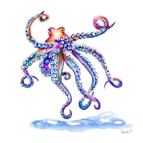 Octopus Watercolor Print
