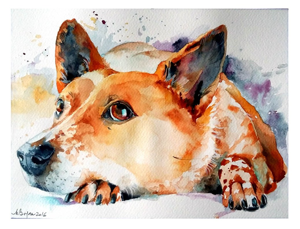 Watercolor Painting by Mishu Bogan - Dog - Doodlewash #WorldWatercolorGroup