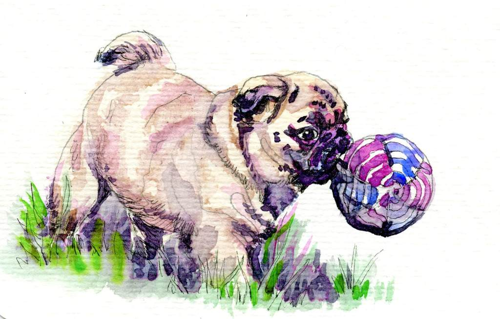 Pug's Playtime-Aquanut Watercolors on Hahnemühle Watercolour Postcard Pug-Aquanut Watercolor