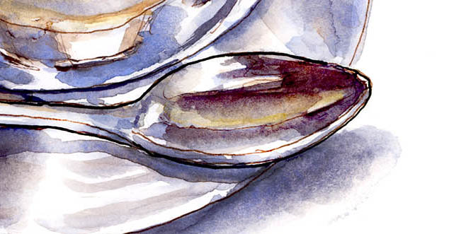 Spoon Detail Da Vinci Watercolor