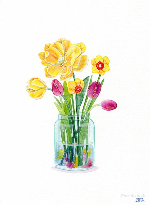 Spring Flowers - Watercolor Illustration by Jean Balogh - Doodlewash